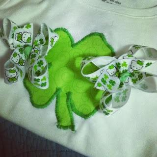 St. Patrick's Day Shamrock Shirt & Hello Kitty Pigtail Bows