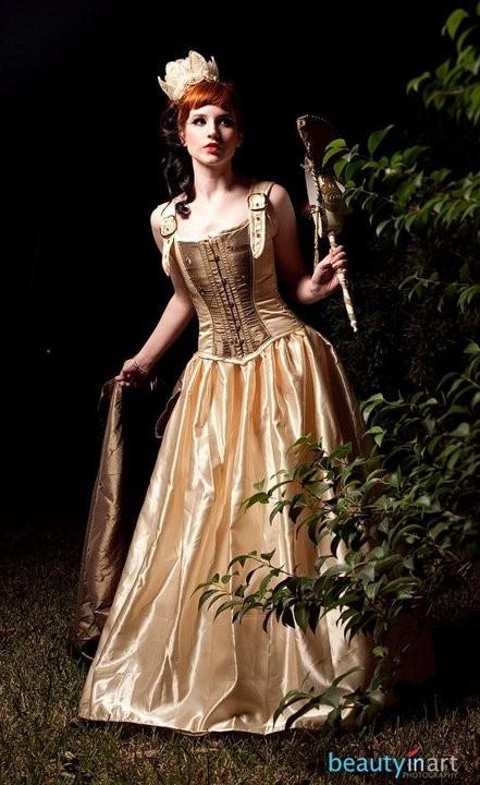 Fairy land wedding dress steampunk victorian corsets for Steampunk corset wedding dress