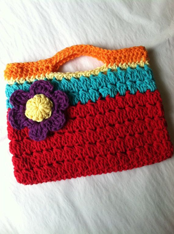 Child Purse, Crochet Child Purse with Flower, Crochet Purse, Summer P ...
