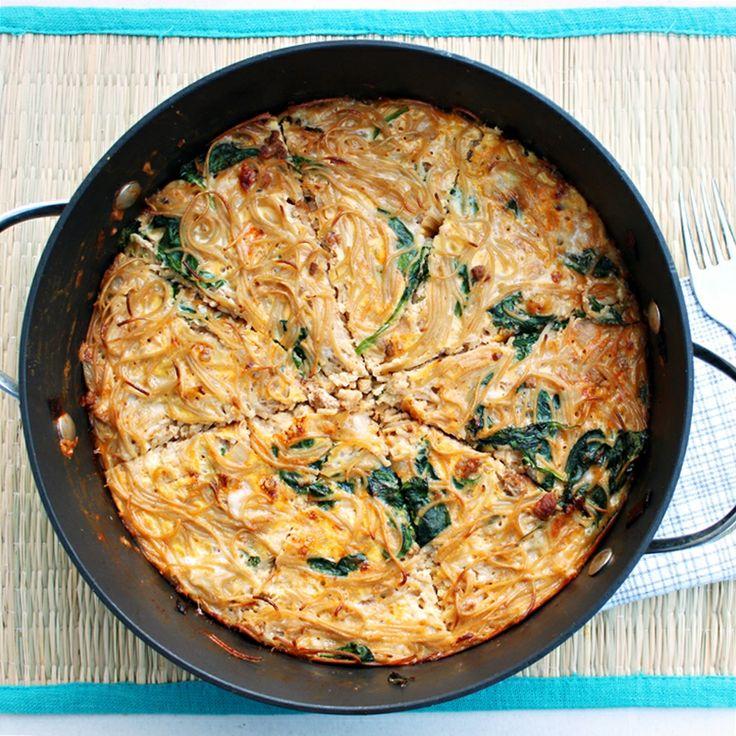 Pasta And Cheese Frittata Recipe — Dishmaps