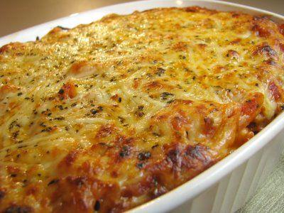 Baked Penne Pasta with Mushroom Marinara and Chicken