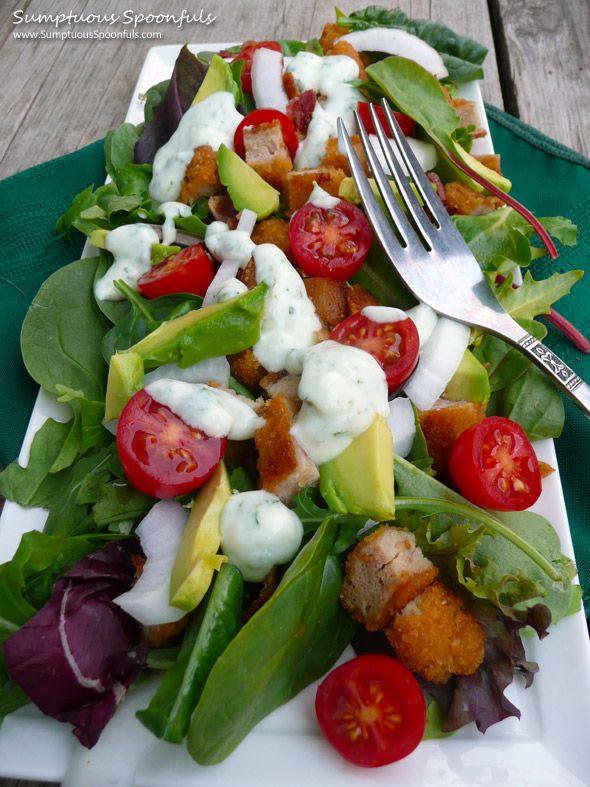 Chicken Bacon Ranch Salad with Avocado & Herb Buttermilk Ranch ...