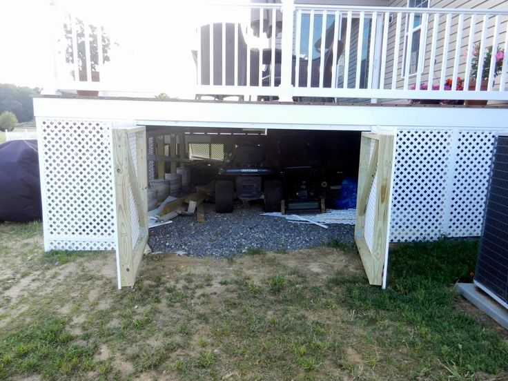 Storage under deck deck pinterest Deck storage ideas