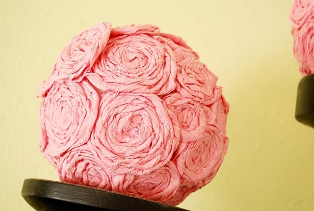 rosette balls made out of tissue paper party streamers!