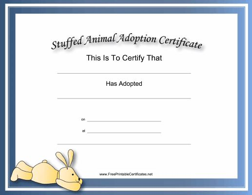 This free, printable, stuffed animal adoption certificate is great for ...