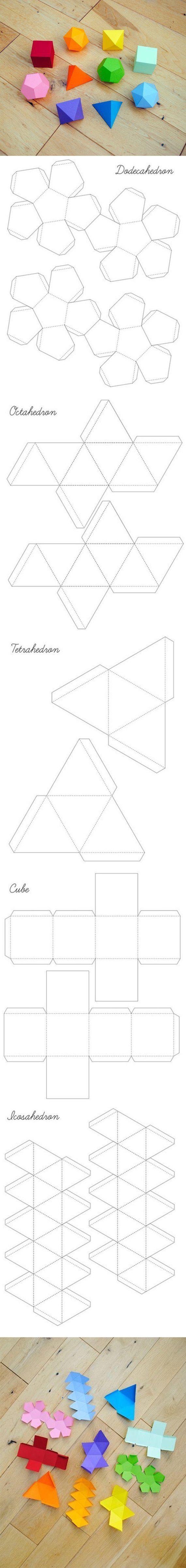 Объемные геометрические фигуры из бумаги своими руками шаблон