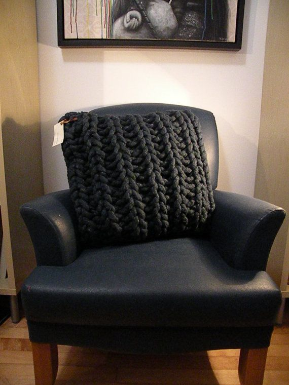 Giant Knit BIG Cushion cover- Pillow super CHUNKY cotton rope. $95.00, via Etsy.