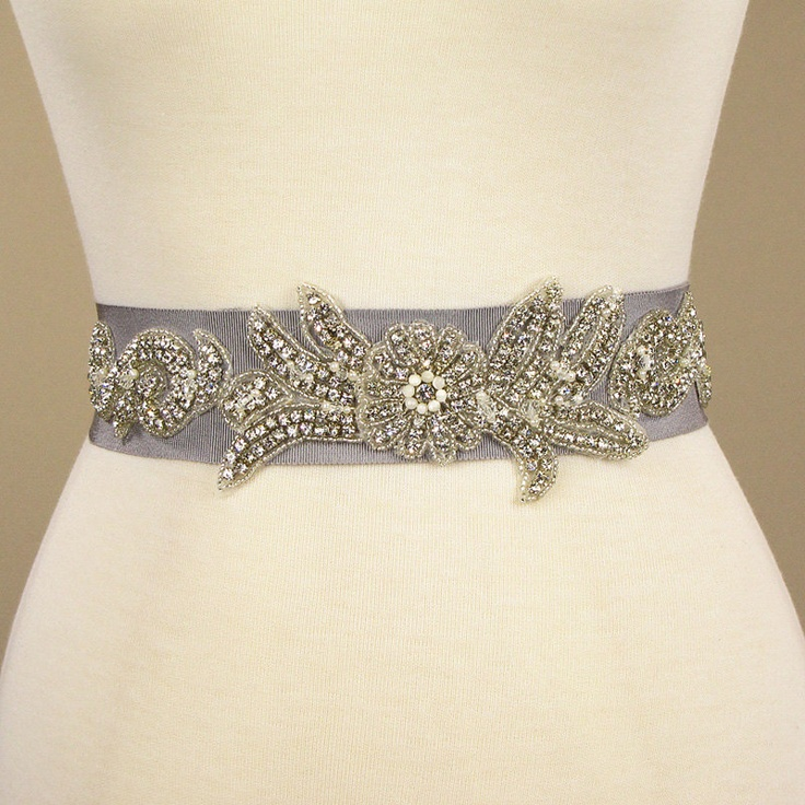sle sale rhinestone beaded cement gray wedding dress belt
