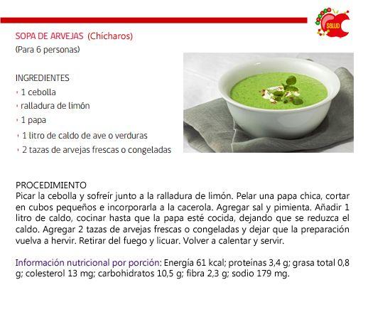 Cenas sin calorías - 4 ideas de sopas ligeras - Sopa de chícharo