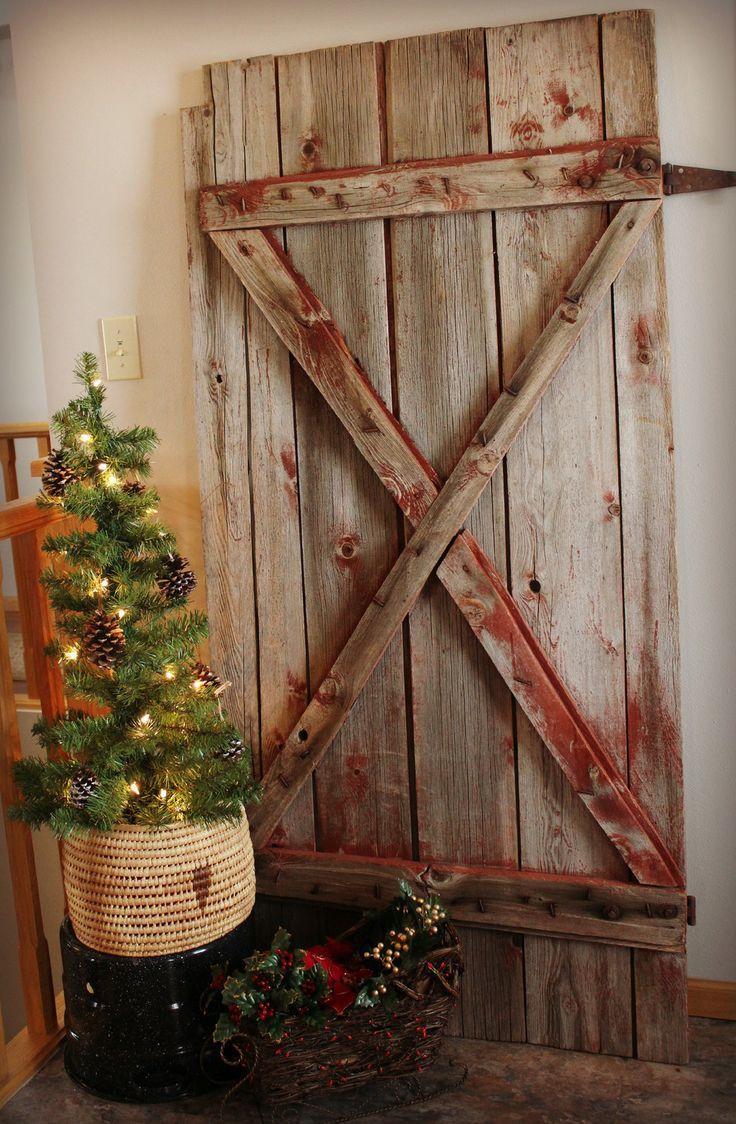 Old barn door at Christmas | Doors | Pinterest