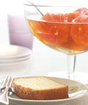 Boozy Clementines With Pound Cake recipe