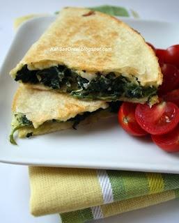Kali Orexi: Spanako-Quesadillas (Spinach Pie Quesadillas)