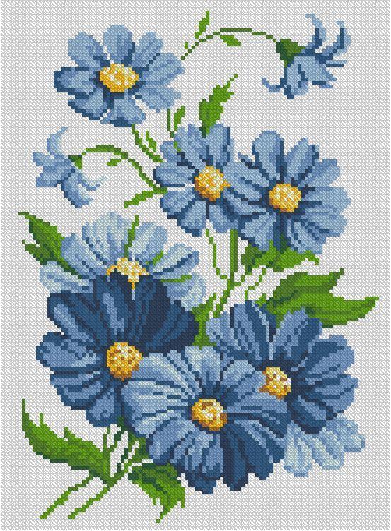 Вышивка крестом цветы синие 70