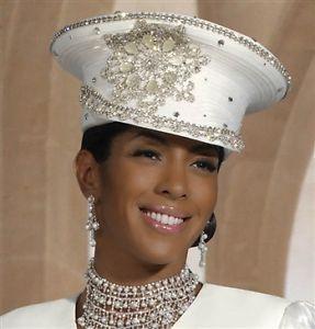 LOOK!! DONNA VINCI White CAPTAINS HAT w RHINESTONES COGIC ...