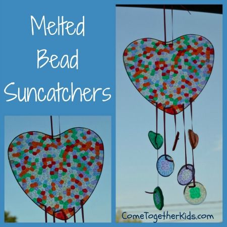 Come Together Kids: Melted Bead Suncatchers   ~ make these awesome suncatchers by melting plastic beads