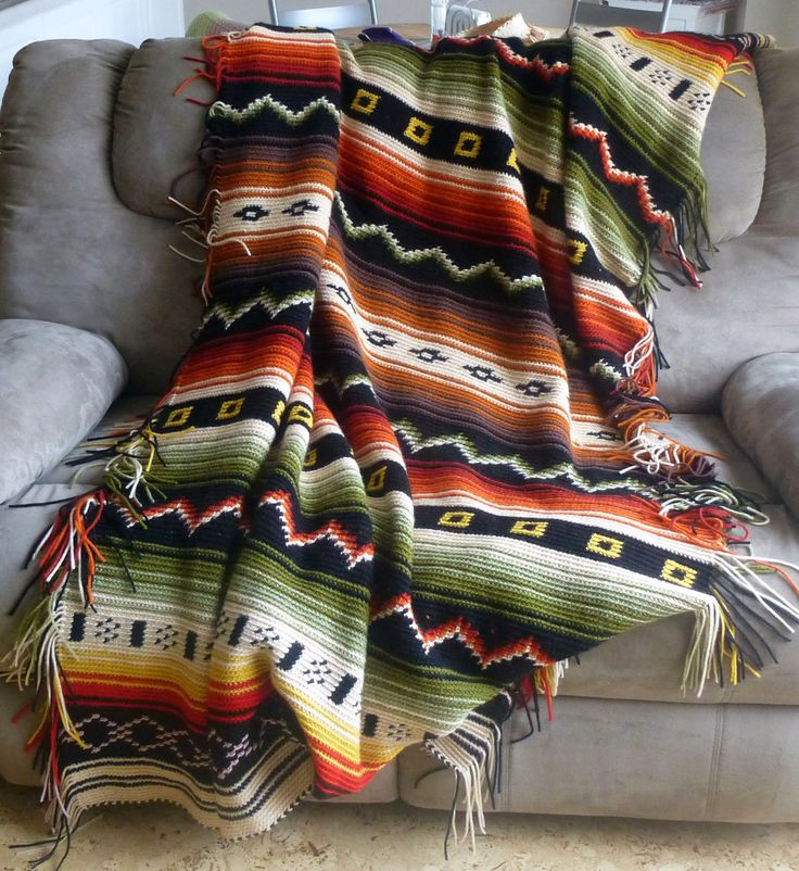 Crocheted native Indian style blanket Crafts Pinterest