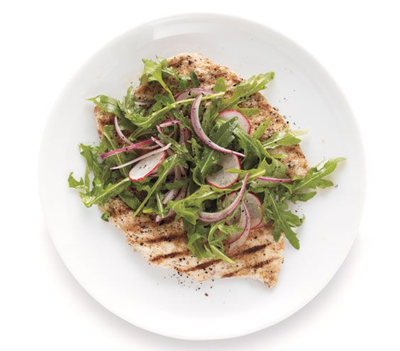 ... salad serve a lemon wedge on the veal chop milanese with arugula salad
