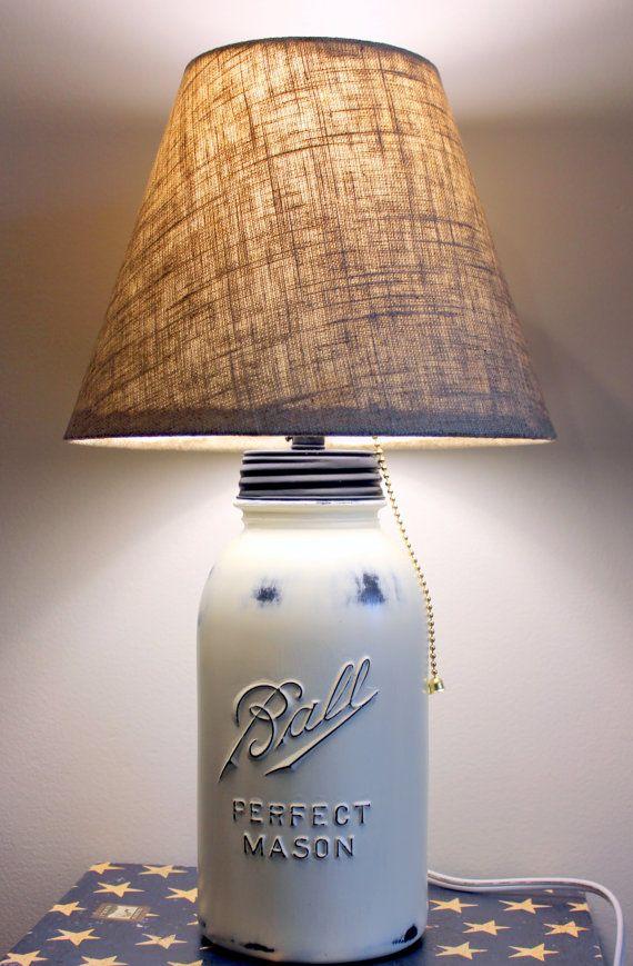 old white distressed mason jar lamp linen shade. Black Bedroom Furniture Sets. Home Design Ideas