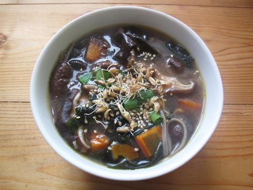 Purple miso soup. Fresh ginger, purple onions, purple carrots, rainbow ...