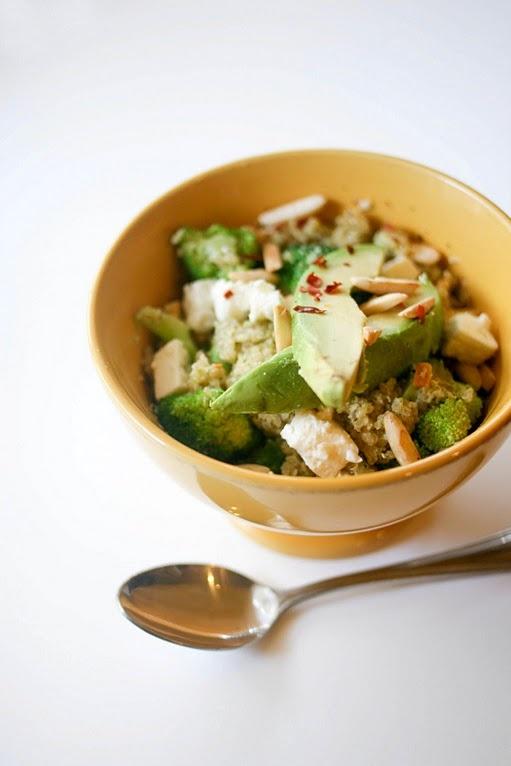 double broccoli quinoa salad with feta cheese and avocado.