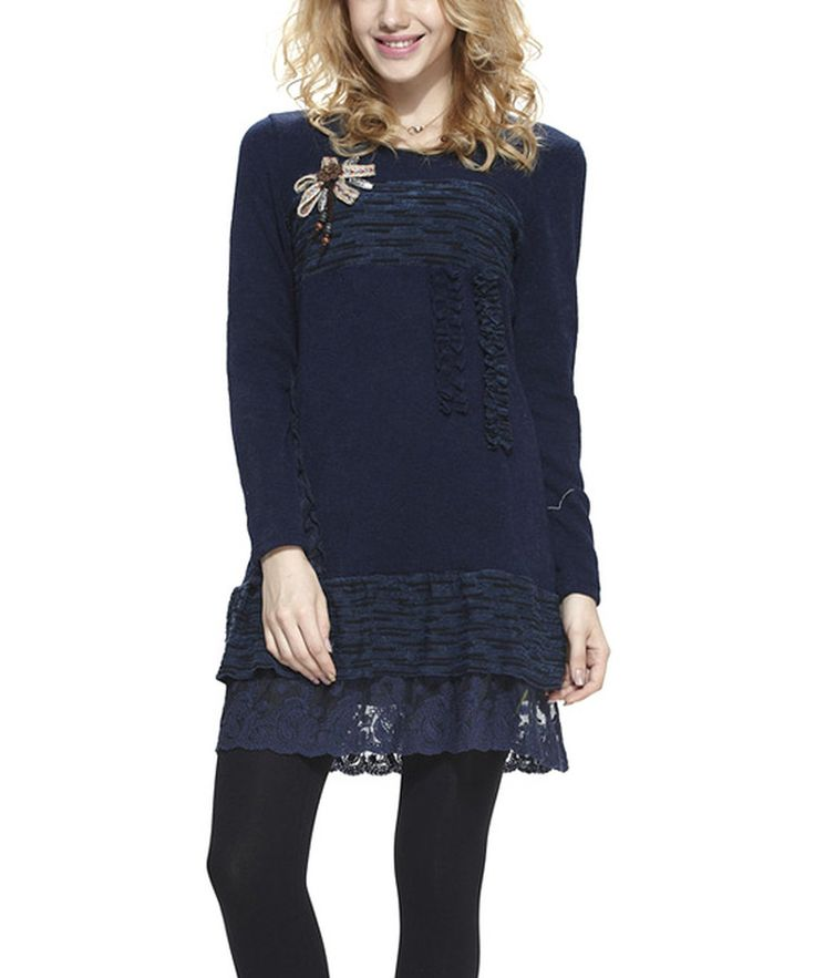 Simply Couture Navy Tiered Lace Layered Tunic