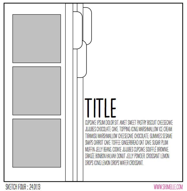 scrapbooking sketch by shimelle laine @ shimelle.com (photos could be 3 square or 3 landscape-oriented rectangles)