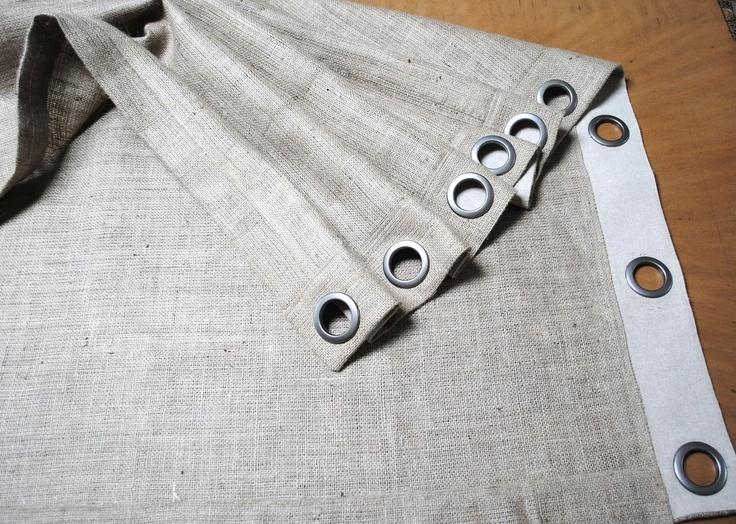 Burlap curtain panel with grommets 75 00 via etsy