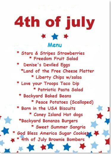 july 4th holiday menu