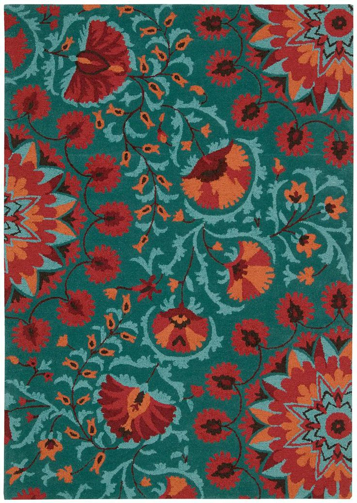Orange and turquoise rug