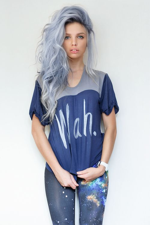 Grey/blue hair color