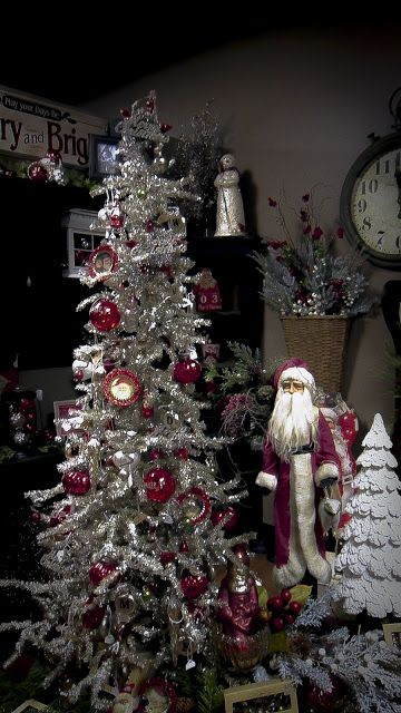 Silver Red Christmas Tree Christmas Pinterest
