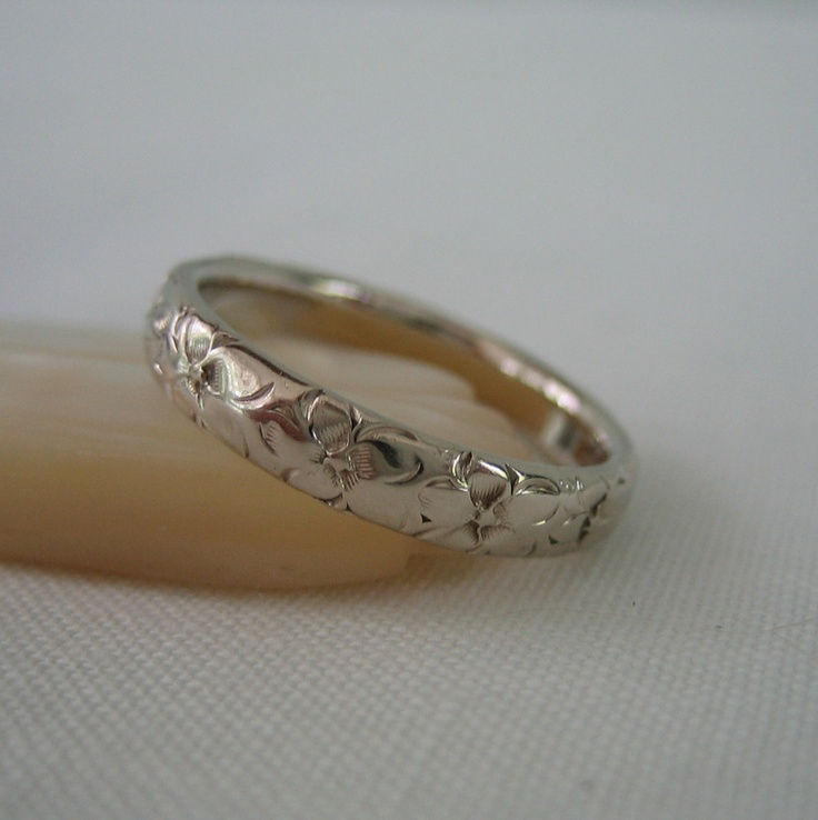 vintage floral wedding band white gold engraved ring addy on