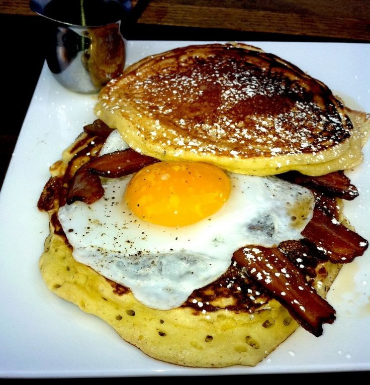Momma Dobias' Pancake Sandwich. I am so making this (but with cornmeal ...