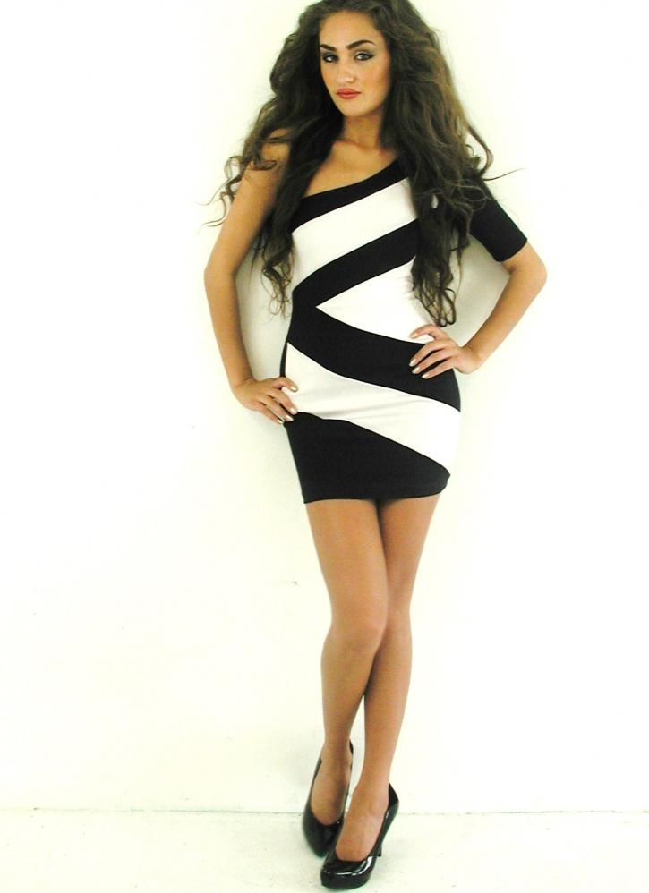 Black & White Striped Geo Print One Shoulder Dress, Party Dr, Dress ...: pinterest.com/pin/114349278008743931