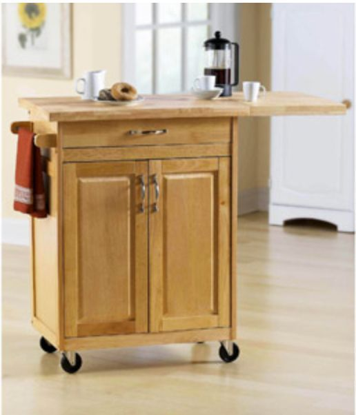 Rolling Kitchen Island Cart Counter Storage Organization Butcher Block Stools