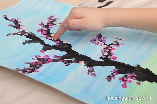 Cherry blossom art with finger