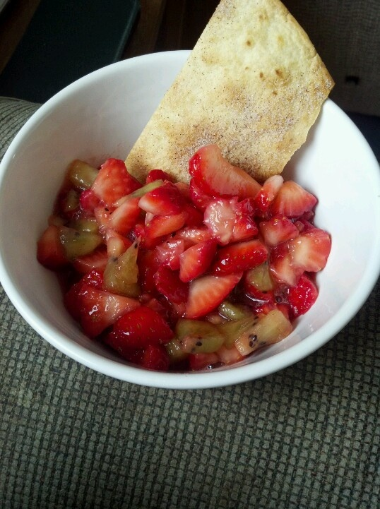 Strawberry kiwi salsa with home made cinnamon chips!
