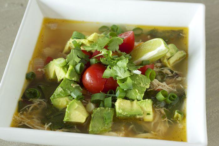 Mexican Fiesta Soup With Roasted Tomatillo And Cilantro Pesto Recipe ...