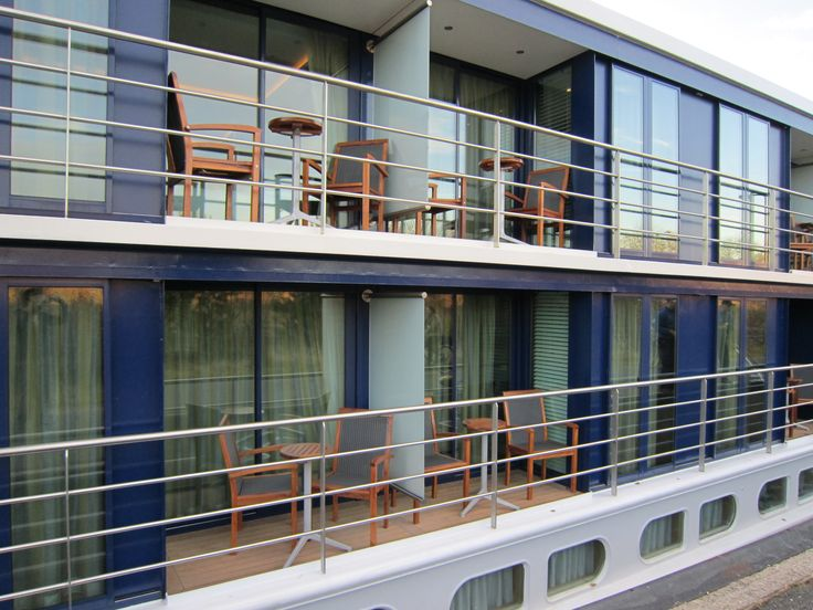 Outside view of the river cruise ship showing a full for Balcony on cruise ship