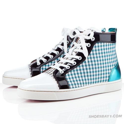 Discount Christian Louboutin Louis Mens Flat Sneakers Blue/Black/White