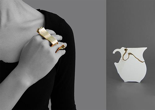 Isabella Liu Pieces: Mending – One Big Ring in a Midi Ceramic Pottery, 2014 Ceramic, gold plated metal 13 x 6.8 x 4 cm Object and jewellery - website: www.isabella-liu.com - at  Shanghai Design Week 2014