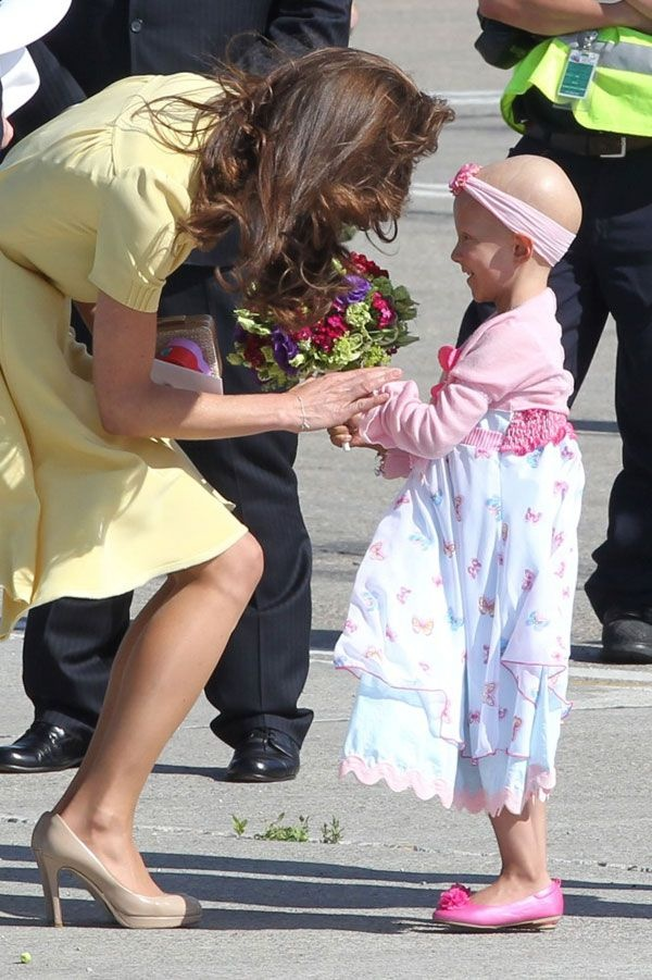 "6-year-old Diamond Marshall, who was diagnosed with stage 4 cancer last year and lost her mother to the disease when she was 18-months-old, met Kate Middleton in Calgary with help from the Children's Wish Foundation after she wrote this letter: ""Dear Princess Kate. My name is Diamond Ann. I am six. I was named after Princess Diana. My Mommy Memory is in heaven with her. I have cancer. I spend a lot of time at the hospital. I watched you get married from my bed there. You looked pretty.  I like playing Princess dress up. My favourite princess is Aurora. Who is yours. I would really like to meet you. Do you want to meet me too? "" And she did. ♥"