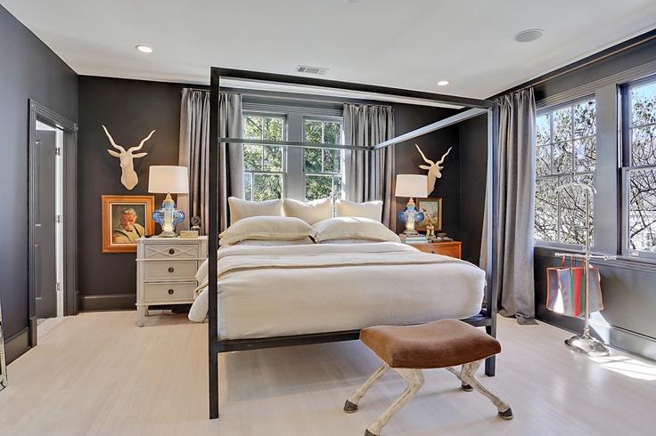 Masculine Master Bedroom Mismatched Nightstands Vintage Blue Lamps White Washed Floors