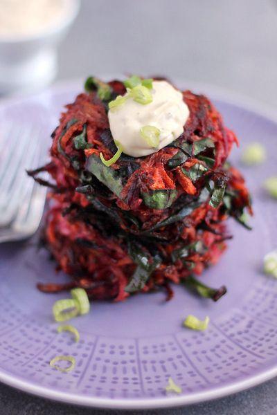 CHANUKAH confetti latkes (Kohlrabi, carrot & beet) with harissa sour ...