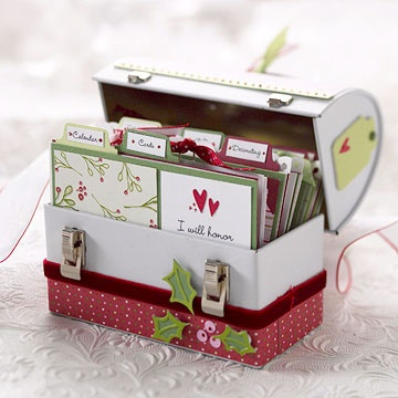 This little tin is the ultimate handmade gift for someone who likes to keep things in order. Tabbed index cards are perfect for filing gift lists, receipts, decorating ideas, and more. And its holiday-theme embellishments are a cheery extra.  How To instructions here: www.bhg.com/...