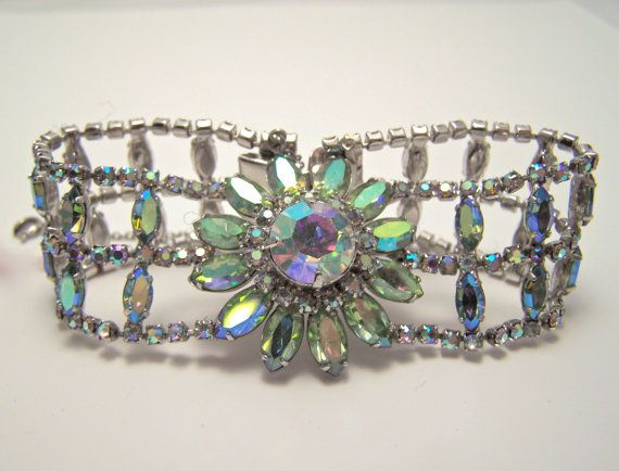 JayKel sterling center flower green ab rhinestone by glitzythings, $85.00