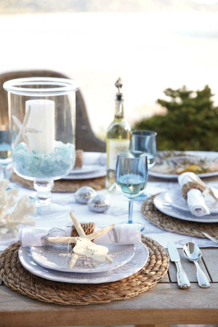 Pretty beachy summer tablescape