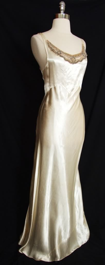 Vintage 20s 30s Silk Satin Beaded Bias Wedding Slip Dress