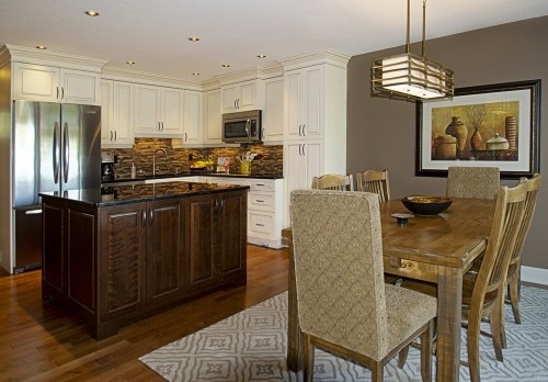 open concept with white cabinets  kitchen  Pinterest