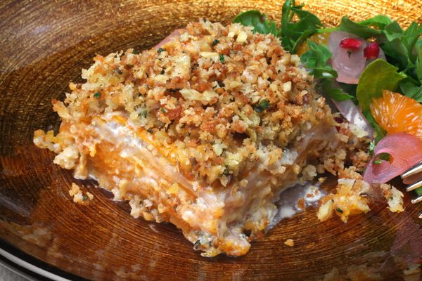 Celery Root and Squash Gratin with Walnut-Thyme Streusel - CHOW